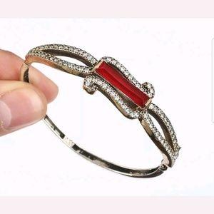 Large ruby & white topaz bracelet
